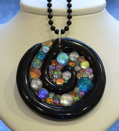 Stunning Fused Glass Pendant, Dichroic Glass Statement Focal Bead, Fused Jewelry, Spiral Cabochon, Signed Original via Etsy