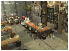 This is another restaurant with a new design to own. Its a cozy place to enjoy the breakfast or enjoying the outdoor bar. Found in TSR Category 'Sims 4 Community Lots' Sims 4 Restaurant, Sims Freeplay Houses, Sims 4 Kitchen, The Sims 4 Lots, Sims 4 House Design, Sims Free Play, Sims House Plans, Sims Building, Casas The Sims 4