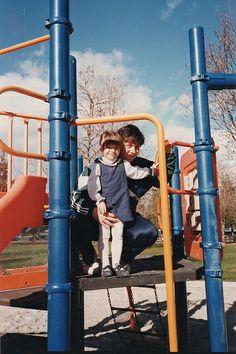 Dasha and Sanya at playground 1997