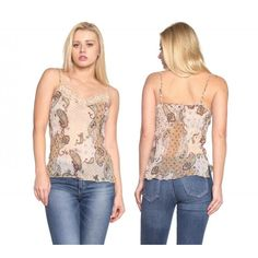 1b326856857 Urban Love Women s Printed Lurex Chiffon with Lace Trim Tank