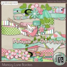 Memory Lane Digital Scrapbook Borders. $2.99 at Gotta Pixel. www.gottapixel.net/ Scrapbook Borders, Scrapbook Sketches, Scrapbook Cards, Diy Mini Album, Page Borders, Border Ideas, Flower Spray, Candy Cards, Creative Memories