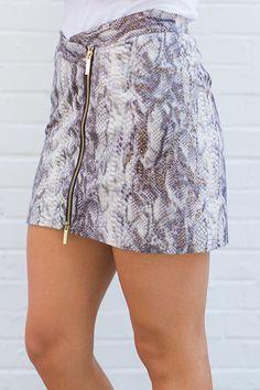 Whitney Eve Snakeskin Mini-Skirt