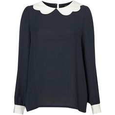 Scallop Collar Blouse By Yuki** ($86) ❤ liked on Polyvore