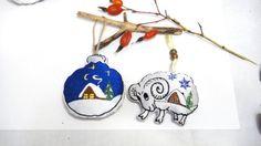 Ball ornament sets Blue cottage White от LeatherBagsBackpacks