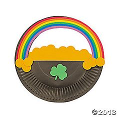 Paper Plate Pot Of Gold Rainbow Craft Kit. Find your own pot of gold with this self-adhesive craft! All craft kit pieces are pre-packaged for individual use. March Crafts, St Patrick's Day Crafts, Daycare Crafts, Classroom Crafts, Cute Crafts, Spring Crafts, Preschool Crafts, Crafts For Kids, Classroom Ideas