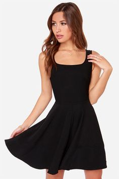 """Whether you're home by curfew or keep the party going all night, the Home Before Daylight Black Dress is the perfect party companion! Knit Tank straps support a stunning bodice with a sexy square neckline, scoop back, and unique seaming in front. The fun continues with a fit and flare style, thanks to a full circle skirt and exposed back zipper. Front of bodice is lined. Model is 5'7"""" and is wearing a size X-Small. Shell: 96% Polyester, 4% Spandex. Polyester lining. Hand Wash Cold or Dry…"""