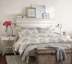 Shop addison headboard from Pottery Barn. Our furniture, home decor and accessories collections feature addison headboard in quality materials and classic styles. Guest Bedroom Decor, Cozy Bedroom, Small Guest Bedrooms, Cottage Bedrooms, Girls Bedroom, Bedroom Ideas, Mantle Headboard, Queen Headboard, Pottery Barn Bedrooms
