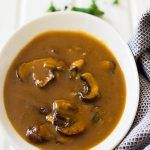 This Easy Mushroom Gravy is quick and simple. It is delicious on top of steaks, mashed potatoes or even meatloaf!