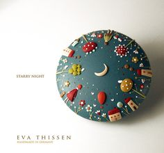 Starry Night. Whimsical polymer clay cookie brooch by EvaThissen.deviantart.com on @deviantART
