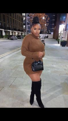 ell me baby, would you slideee for m Thick Girls Outfits, Curvy Girl Outfits, Curvy Girl Fashion, Black Women Fashion, Look Fashion, Plus Size Outfits, Plus Size Fashion, Winter Mode Outfits, Winter Fashion Outfits