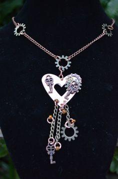 necklace copper heart steampunk  SALE dangling by gildedingypsy, $24.00