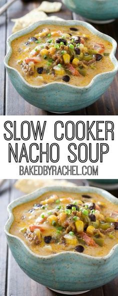 Flavor packed slow cooker cheesy beef nacho soup recipe from @bakedbyrachel: