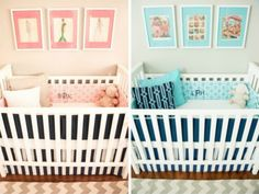 We adore the matching bedding (in pink for girl, blue for boy). #twins #nursery
