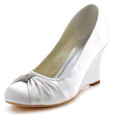 Elegantpark EP2005 Ivory Women s Round Toe Wedge Heel Satin Rhinestones  Wedding Bridal Shoes US 5 Elegantpark 3d92f57ba71c