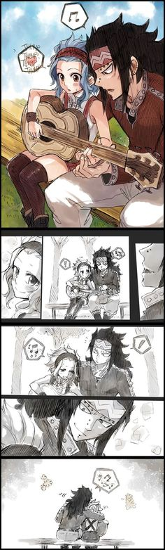 Guitar Lessons - Gajeel x Levy Fairy Tail (who on God's green earth is the genius who drew this! Gale Fairy Tail, Anime Fairy Tail, Fairy Tail Comics, Fairy Tail Art, Fairy Tail Guild, Fairy Tail Ships, Fairy Tales, Manga Anime, Got Anime