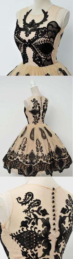 Ball Gown Homecoming Dresses, Black Homecoming Dresses, Short Homecoming Dresses, Short Black Homecoming Dresses With Applique Knee-length Round Sale Online Vintage Homecoming Dresses, Dresses Short, Black Prom Dresses, A Line Prom Dresses, Beautiful Prom Dresses, Prom Party Dresses, Vintage Prom, Dress Party, Dress Black