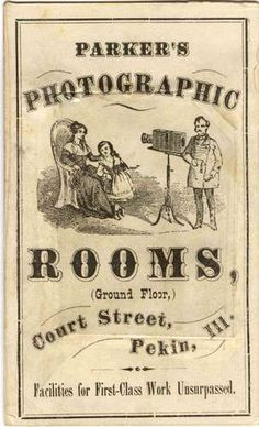 Parker's Photographic Rooms (Pekin, ILL)  Advertising for Parker's Photographic Rooms,Pekin, ILL.  1865, 7 March (after, date of Potter's Patent) Tintype, carte de visite mount  Private collection of Laurie Minor