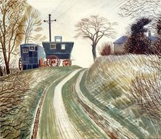 Gypsy wagons-Painting by Eric Ravilious
