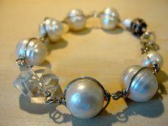 Pearls,crystal quartz, silver.  handmade jewelry