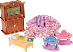 Beautiful Fisher Price Loving Family Dollhouse Premium Decor Furniture Set   Family  Room $16.99