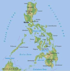 A rough geographical map of the Philippines.   The Philippines is an archipelago consisting of 7,107 islands