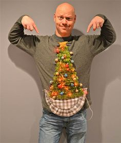 Steal the show at your office holiday party with the this DIY Christmas tree ugly sweater!