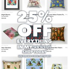 Happy Monday! 25% Off Everything today in my #society6 store with this code: ART25OFF https://society6.com/squibble/s?q=new
