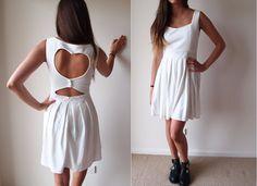 White Heart Back Cut Out Dress by ClothesDontCheat on Etsy. , via Etsy.