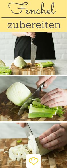 Never processed a fennel? Here is a step-by-step explanation of how to best disassemble, process and enjoy the tuber! + Delicious recipes with fennel! Preparing fennel: this is how you handle the bulb properly Klaudia Schumacher klaudiaschumach Ess Austrian Cuisine, Fennel Recipes, Yummy Food, Tasty, Macaron, Winter Food, Vegetable Dishes, Food Preparation, I Love Food