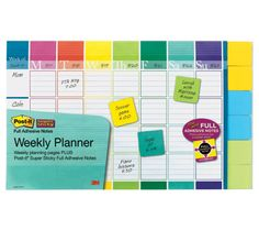 """Post-it(R) Notes Weekly Planner, 18"""" x 12"""", 52 Weeks with 6 Pads of 2"""" x 2"""" Notes - Flexible paper planning system, visually and tactile oriented using color to code events, people or activities. Sticky notes allow for easy movement and alterations. ($15.50)"""