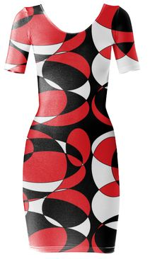 Woman's print all over black, white and red elliptical designed Bodycon dress