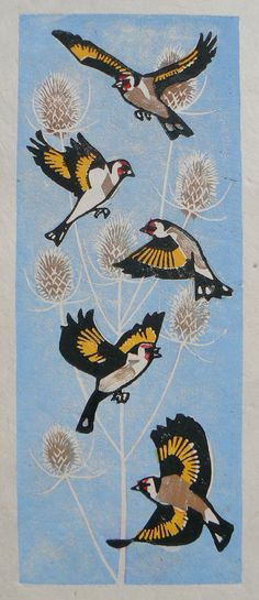 Goldfinches in flight linocut print by StripedPebble on Etsy