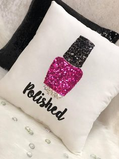 Handmade with love Personalized Nail polish bottle sequin appliqué Decor pillow Measurement 16 x 16 inches Made with white fabric and sequin Fabric appliqué . I can make any color pillow and any color bottle . Please don't forget to add me a note your text at checkout. Custom orders