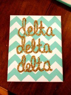 tridelta glitter canvas i made for my little! #tridelt #tridelta #glitter #chevron #canvas #crafting #biglittleweek #deltadeltadelta #sorority