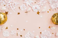 #Christmas paper snowflakes on #pink is greate for blog, #website, banner, social media