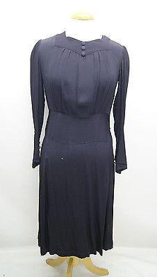 1930s #original blue #crepe #dress size 12.,  View more on the LINK: 	http://www.zeppy.io/product/gb/2/281907290164/