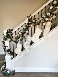 : Neutral Christmas decor staircase decorating stockings on staircase Neutral Christmas decor staircase decorating stockings on staircase ChristmasDecorations ChristmasDecorationsapartment ChristmasDecorationsbedroom ChristmasDecorationscheap Christm Classy Christmas, Noel Christmas, Elegant Christmas Trees, Front Door Christmas Decorations, Holiday Decor, Christmas Decor For Stairs, Box Noel, Farmhouse Christmas Decor, Christmas Inspiration