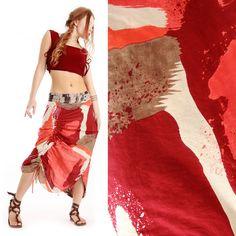 Bold Brush strokes Red Wrap skirt 2 sided Gorgeous by Shovava  #skirt #ooak #handmade #etsy #women #tribal #Shovava
