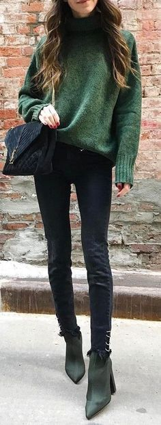 #fall #outfits / green knit