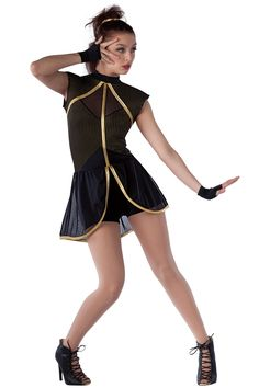 15343 I'm Just A Girl | Tap Jazz Funk Dance Costumes | Dansco 2015 | Black spandex short unitard with gold studded black spandex insert and foam lined sleeves. Black mesh insert and attached skirt. Gold metallic spandex binding trim. Gloves and binding for hair included.