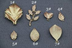 China. 10PCS Golden Gold Metal Leaf Pendant Charms Casting Leaves for