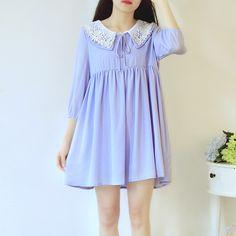 White/Blue Mori Girl Dolly Collar Dress SP166691