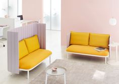 Ophelis Sum in blush pinks and yellow, mid and high back soft seating sofa units for the office, lobby or home. Furniture Sofa Set, Entryway Furniture, Modular Furniture, Online Furniture, Cool Furniture, Outdoor Furniture Sets, Furniture Design, Modern Furniture, Interior Design Layout
