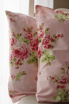 A Pair of Pink and Green Floral Cushions/Pillows .... Shabby Cottage Chic decor