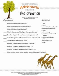 Enjoy our free Bible Quiz: The Creation. Fun for kids to print and test their knowledge of the Bible. Feel free to share with others, too!