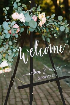 Wedding Welcome Sign - Wedding Signs - Acrylic Wedding Sign - Lucite Wedding Sign - Wedding Signs - Elegant wedding welcome sign Wedding Welcome Table, Wedding Table, Our Wedding, Summer Wedding, Dream Wedding, Wedding Rings, Wedding Ceremony Ideas, Wedding Signage, Outdoor Wedding Signs