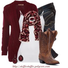 Cute Outfits 2015 | Boyfriend Cardigan in burgundy, floral scarf, white tank, jeans and boots (I'd pick another boot since I am not a cowboy boot person). Love the scarf!
