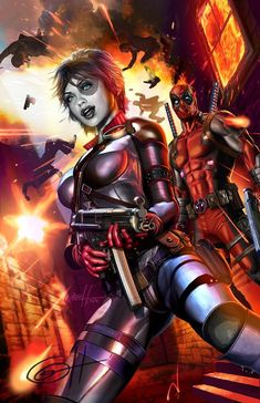 Domino and Deadpool by Greg Horn #GregHorn #Domino #NeenaThurman #XMen #XForce #The198 #Underground #SixPack #WeaponX #Deadpool #WadeWilson #TheMercWithAMouth