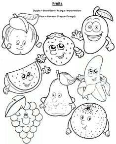 Coloring page ( fruits )Apple – Strawberry - Mango - Watermelon - Pear – Banana - Grapes - Orange Healthy Food Activities For Preschool, Preschool Education, Indoor Activities For Kids, Preschool Crafts, Coloring Worksheets For Kindergarten, English Worksheets For Kids, English Activities, Fruit Coloring Pages, Coloring Books