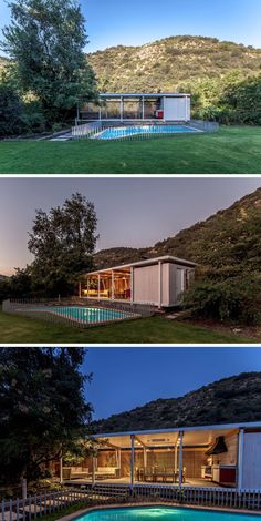 This modern pool house sits next to a swimming pool and includes a covered outdoor living room and dining area, as well as a BBQ, a kitchenette, a wine cellar and a bathroom.